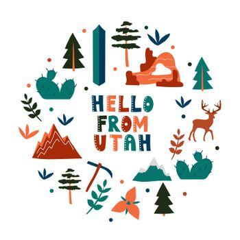 USA collection. Hello from Utah theme. State Symbols