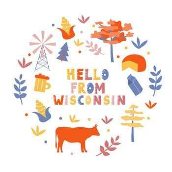 USA collection. Hello from Wisconsin theme. State Symbols
