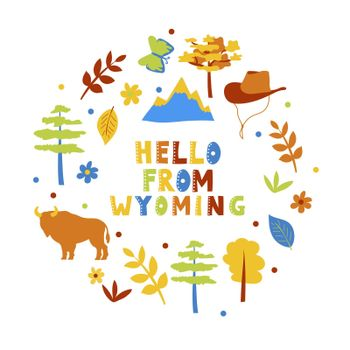 USA collection. Hello from Wyoming theme. State Symbols