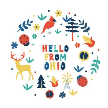 USA collection. Hello from Ohio theme. State Symbols