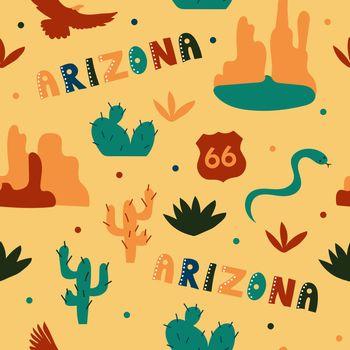 USA collection. Vector illustration of Arizona theme. State Symbols