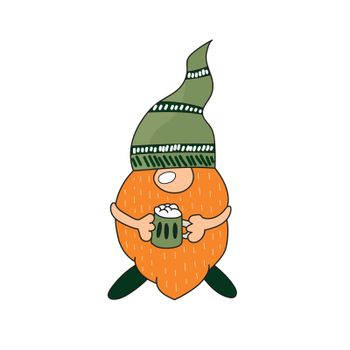 St. Patrick Day - Irish gnome with beer. Cartoon Leprechaun color illustration