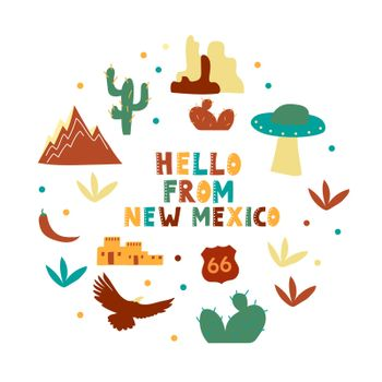 USA collection. Hello from New Mexico theme. State Symbols