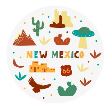 USA collection. Vector illustration of New Mexico theme. State Symbols