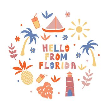 USA collection. Hello from Florida theme. State Symbols