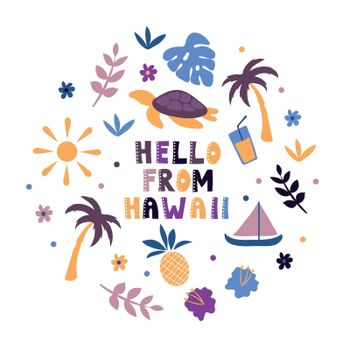 USA collection. Hello from Hawaii theme. State Symbols