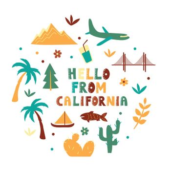 USA collection. Hello from California theme. State Symbols