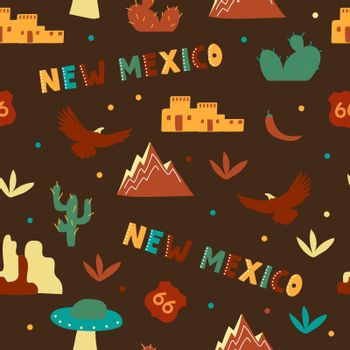USA collection. Vector illustration of New Mexico heme. State Symbols