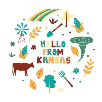 USA collection. Hello from Kansas theme. State Symbols