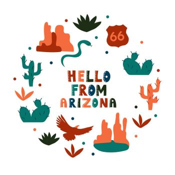 USA collection. Hello from Arizona theme. State Symbols