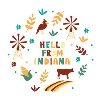 USA collection. Hello from Indiana theme. State Symbols