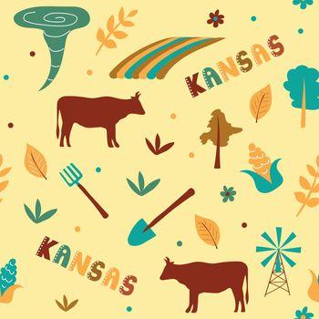 USA collection. Vector illustration of Kansas theme. State Symbols