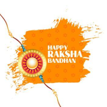 happy raksha bandhan watercolor stroke greeting