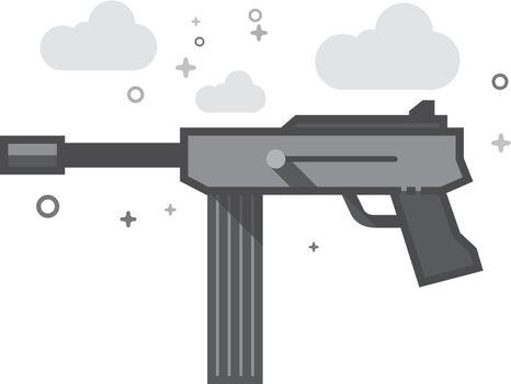 Flat Grayscale Icon - Vintage Firearm