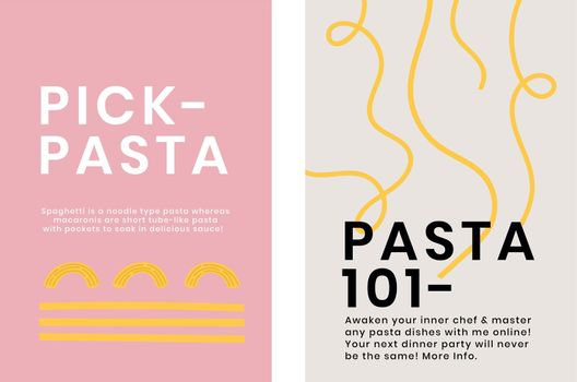 Cute pasta doodle template vector for food poster dual set