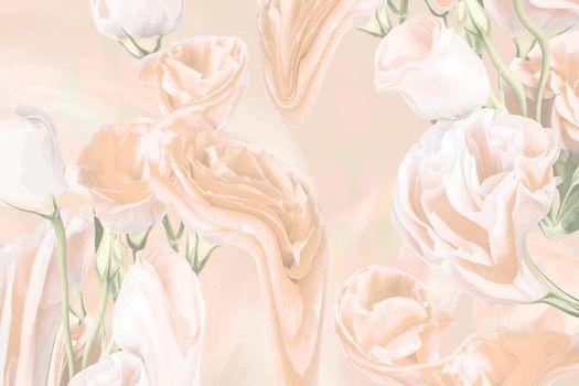 Floral background vector, beige rose psychedelic art