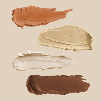 Nude cream smear element vector set