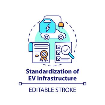 Electric vehicles infrastructure standardization concept icon.