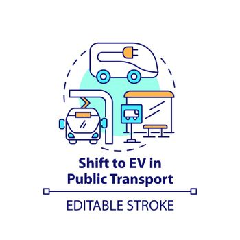 Public transportation electric vehicles concept icon.