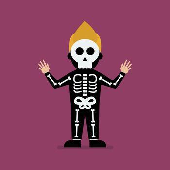 Kid wearing a skeleton costume