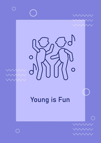 Youth nightlife postcard with linear glyph icon