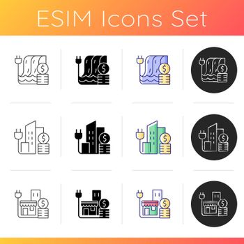 Electrical energy purchase expense icons set
