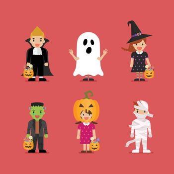 Happy children in scary different costumes