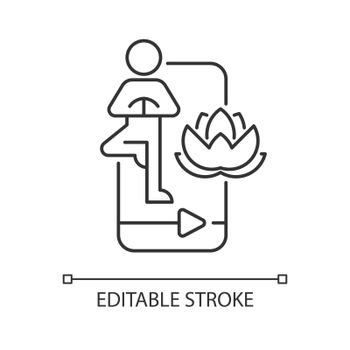 Online yoga tutorial linear icon.