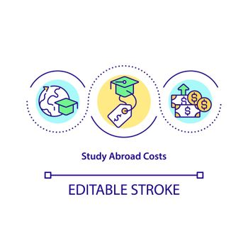 Study abroad costs concept icon