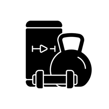 Online weightlifting exercises training black glyph icon.