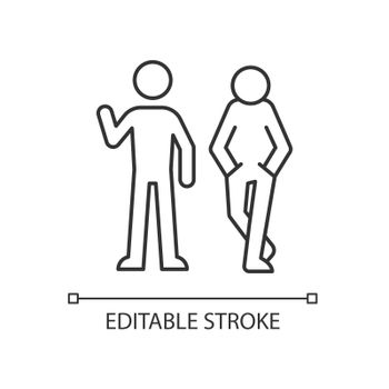 Posture in communication linear icon
