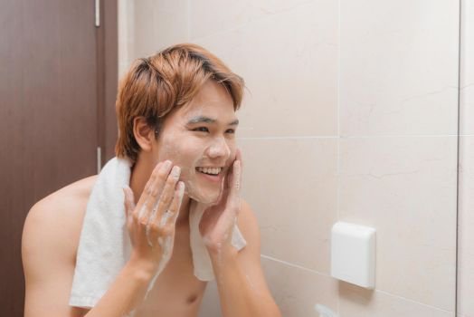 Man face wash with foam