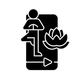 Online yoga tutorial black glyph icon.