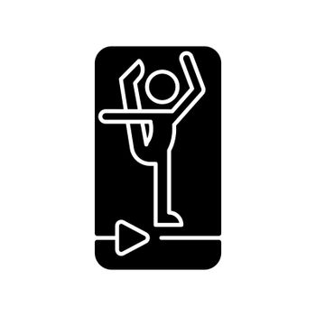 Online fitness stretching black glyph icon.