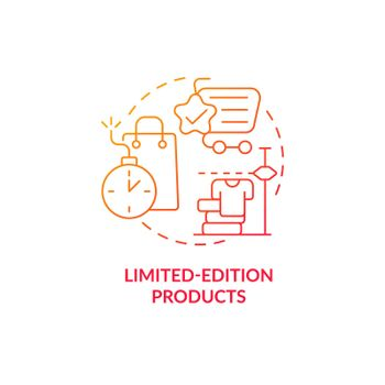 Limited-edition products red gradient concept icon