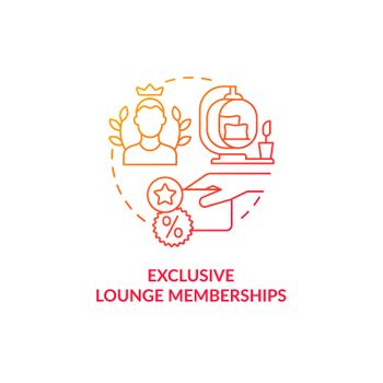 Exclusive lounge memberships red gradient concept icon