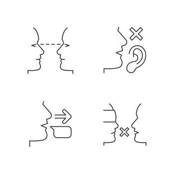 Improve everyday communication linear icons set