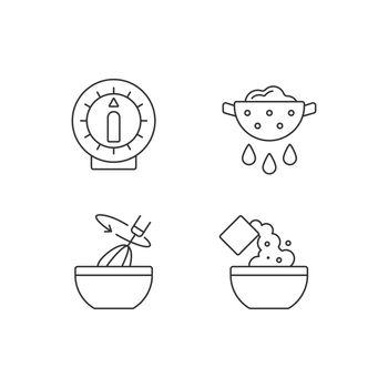 Food preparation linear icons set