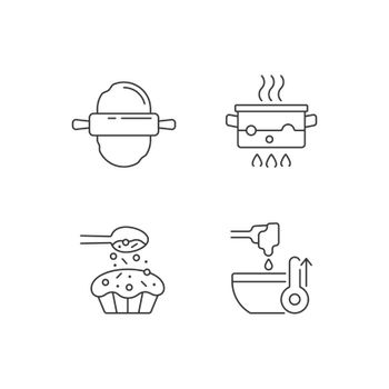 Cookery instructions linear icons set