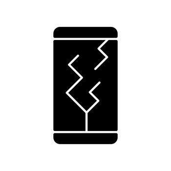 Screen damage black glyph icon