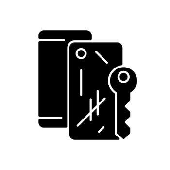 Scratched housing black glyph icon