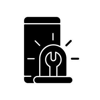 Urgent phone repairs black glyph icon