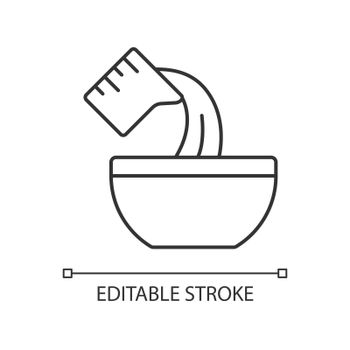 Pour cooking ingredient linear icon