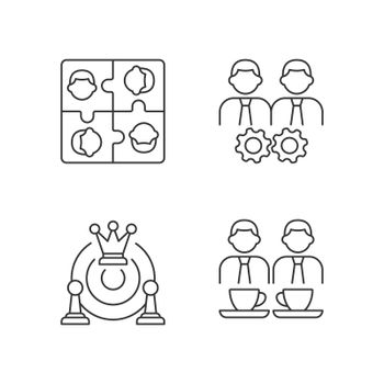 Office members interaction linear icons set