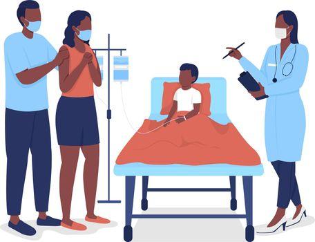Pediatric hospitalization semi flat color vector characters
