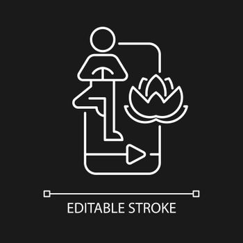Online yoga tutorial white linear icon for dark theme.