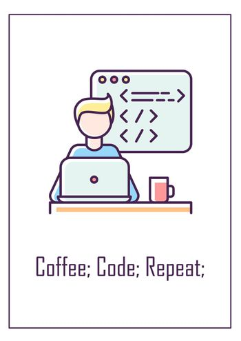Coffee, code, repeat greeting card with color icon element
