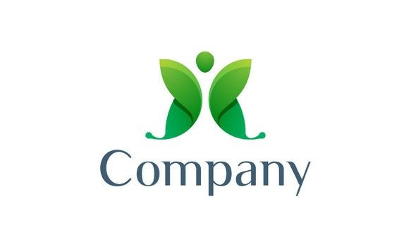 This butterfly logo in green represents beauty and naturalness