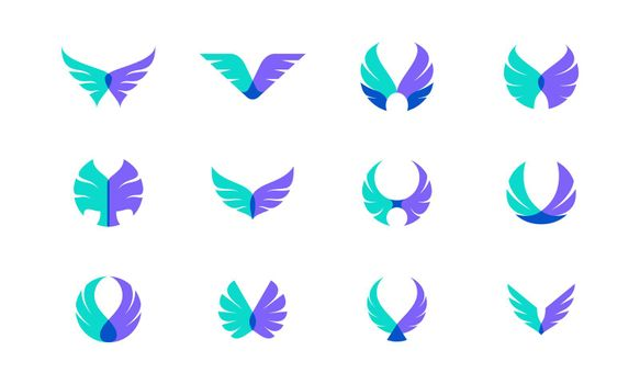 Vector design bundle of wings. Suitable as a logo that represents freedom, courage and happiness.