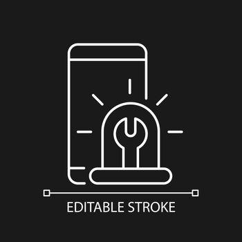 Urgent phone repairs white linear icon for dark theme